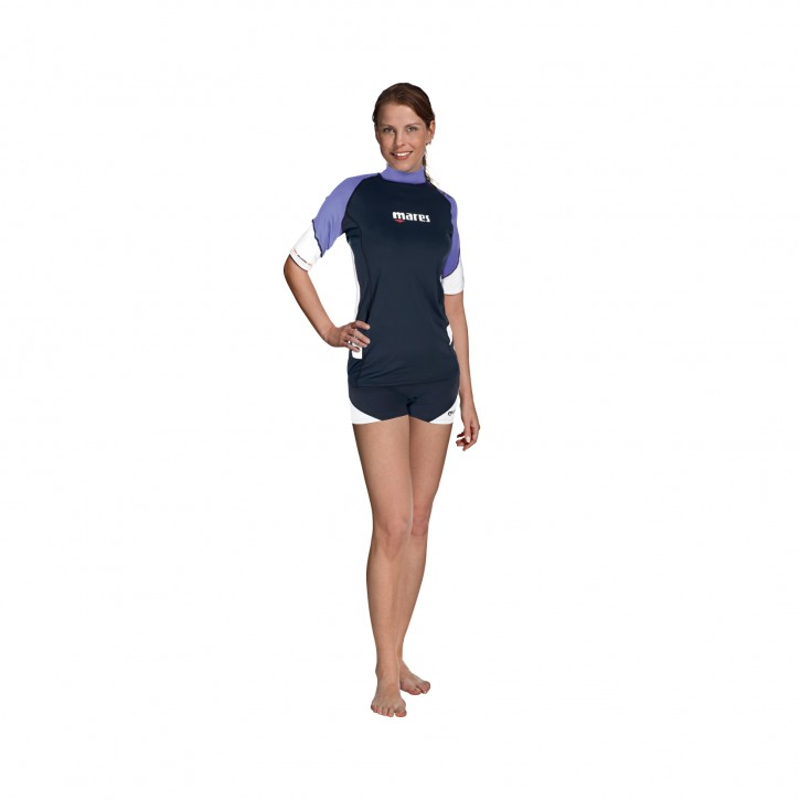 Rash Guard Loose Fit Short Sleeve Damen Lila / XS