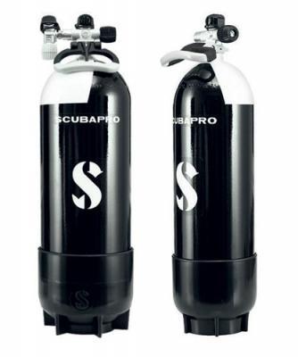 Scubapro Pressluftflasche Ventil mit Zweitabgang / 12 Liter Lang